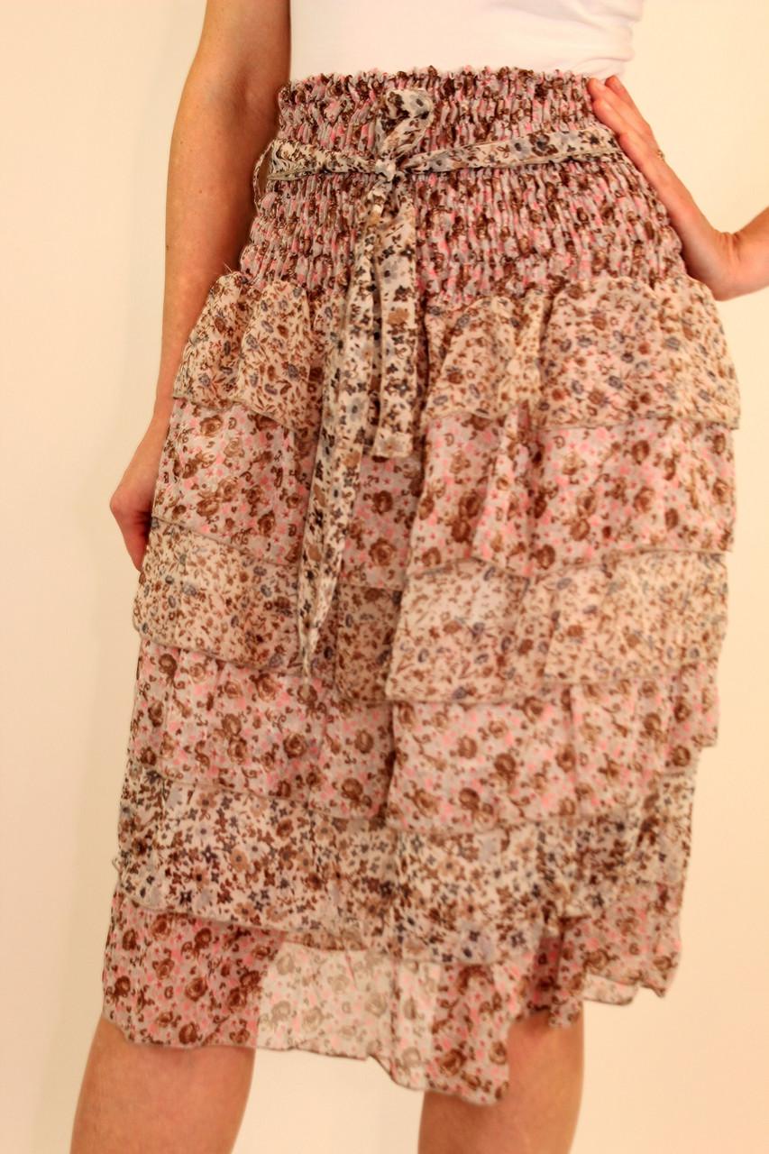 Шифоновая юбка с воланами 42-48 р