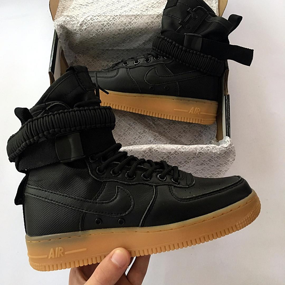 eedced52 Мужские кроссовки Nike Air Fors 1 SP ( Найк Аир Форс) черные высокие реплика