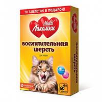 Кормова добавка «МультіЛакомкиЧудова шерсть», для котів 70 табл