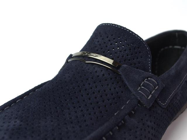 Летние мокасины для водителей замшевые синие с перфорацией мужская обувь Rosso Avangard M4 Cross Havy Blu