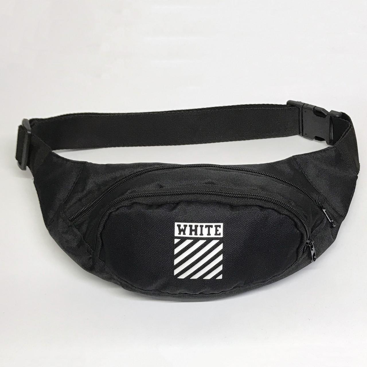 Поясная сумка в стиле Off White Полосы черная