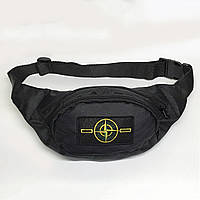 Поясная сумка в стиле Stone Island черная, фото 1