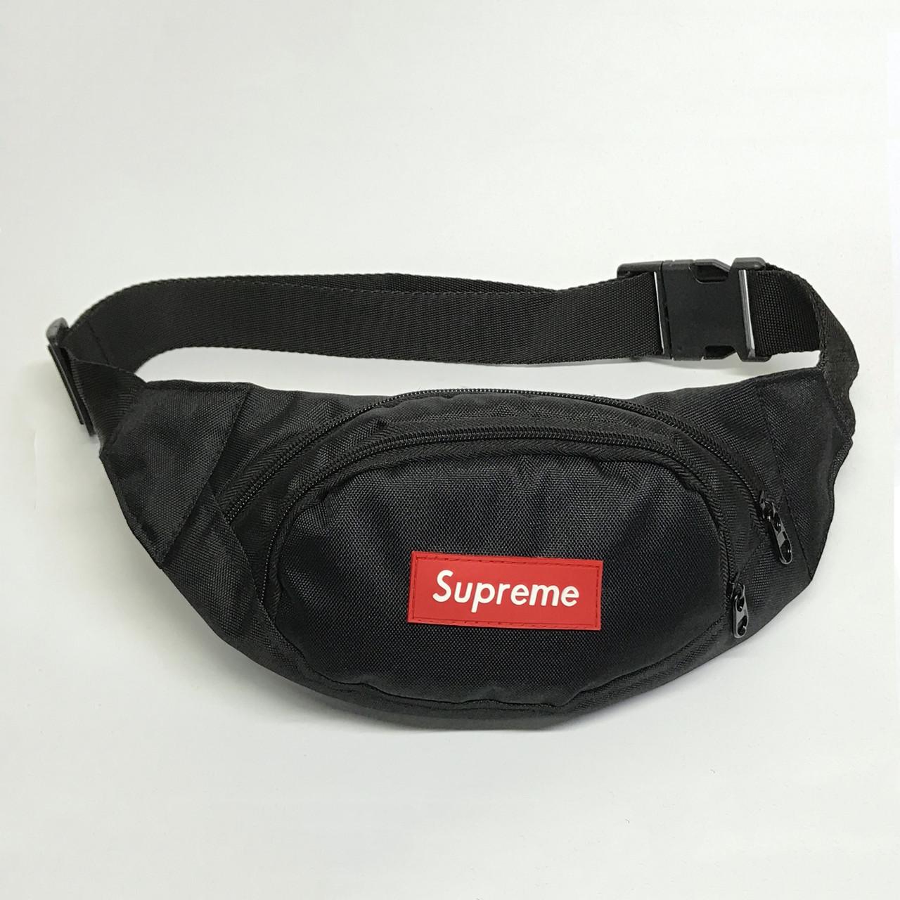 Поясная сумка в стиле Supreme Redlogo черная