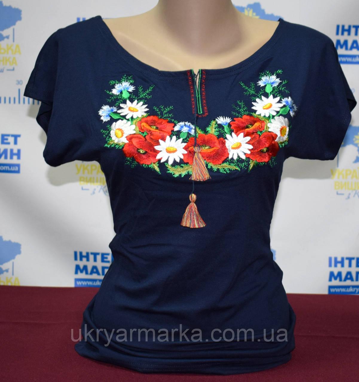 """Жіноча футболка вишиванка """"Інна"""" синя"""