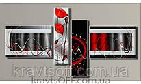 """Модульная картина на холсте из 4-х частей """"Абстракция стиль"""" ( 83х155 см )"""