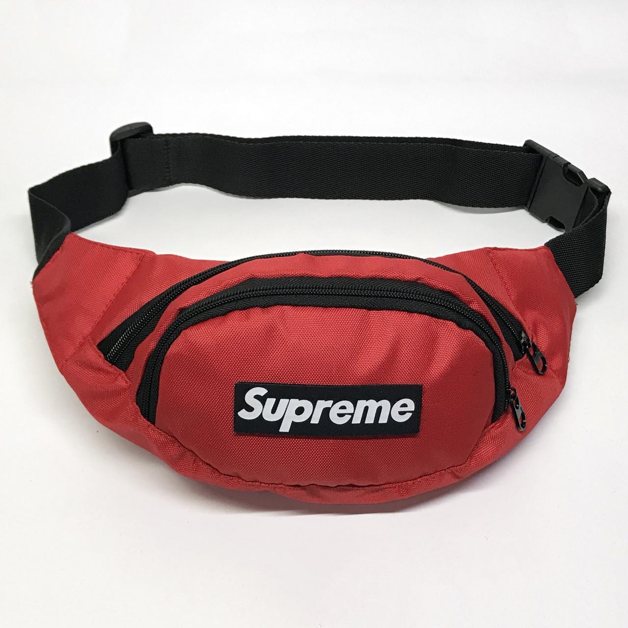 Поясная сумка в стиле Supreme красная
