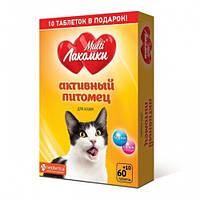 """Кормова добавка """"МультіЛакомки Активний вихованець, для котів 70 табл"""