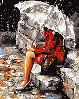 Оригинальная недорогая картина по номерам Размышления под дождем худ Имире Тот (VP316) 40 х 50 см