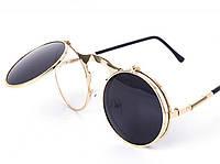 Сонцезахисні круглі окуляри з одинарними фліпами, металева оправа, золотистий колір, фото 1