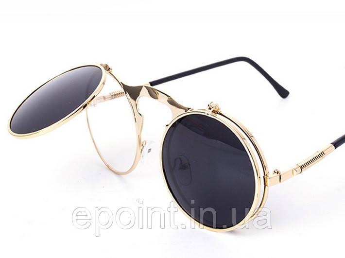 41e5220d28b6 Солнцезащитные круглые очки с одинарными флипами, металлическая оправа,  золотистый цвет - Интернет-магазин