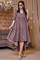 ✔️ Платье с асимметричным подолом коттоновое 42-52 размера коричневое, фото 1