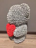 Мишка из роз 60 см серый (красное сердце) 830098
