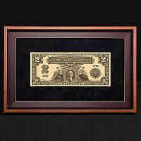 Подарочная банкнота в рамке 2$ BST 420002 36х23х2 см.