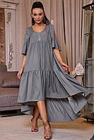 ✔️ Платье с асимметричным подолом коттоновое 42-52 размера серое, фото 1