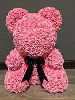 Мишка из роз 40 см розовый (черный бант) 830094