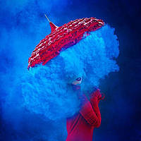 Блакитний кольоровий дим (середньої насіченості (дім12)), димова шашка, кольоровий блакитний дим, 60 сек