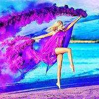 Ручний фіолетовий кольоровий дим, димова шашка, довга рукоятка, 60 секунд, Цветные дымовые шашки