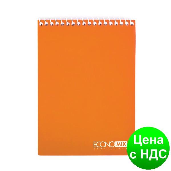 Блокнот А5, пластиковая облож., верхняя спираль, 80 листов, клет., ассорти E20320