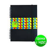 Блокнот А5, пластиковая облож., 100 листов, боковая спираль,на резинке,клет. E20322