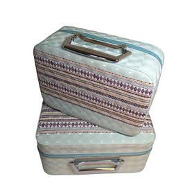 Набір бьюті-кейсів для зберігання косметики та аксесуарів (орнамент, голубий)