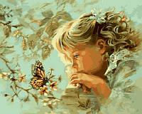 Картина по номерам с детской тематикой Наблюдая за бабочкой худ Финчер, Эндрюс Кэтрин (VP384) 40 х 50 см
