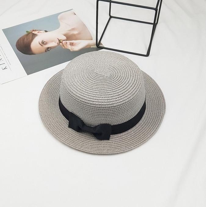 Шляпа женская летняя канотье с бантиком серая