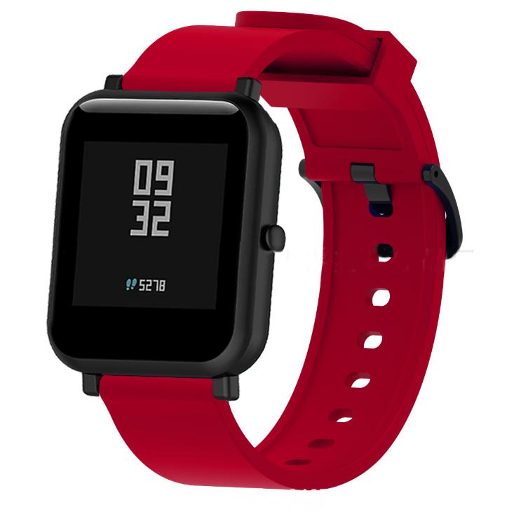 Силиконовый ремешок для смарт-часов Xiaomi AMAZFIT Bip Red (Красный)