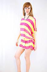 Яскрава цікава модна пляжна накидка з сітки в смужку різні кольори, фото 2