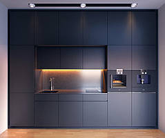 Черная кухня с мдф фасадами alvic (Испания)
