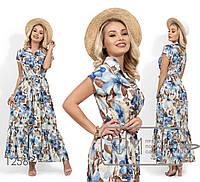 Платье-миди из ткани софт с красочным принтом, застежкой вдоль лифа, отрезной талией под пояс и широкой, 1 цве
