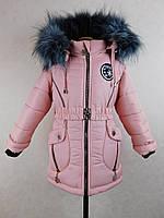 """Зимняя куртка для девочки """"Снежинка"""" бренд Svik, 92-116,пудра."""