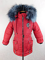 "Зимняя куртка для девочки ""Снежинка"" бренд Svik, 92-116,красная."