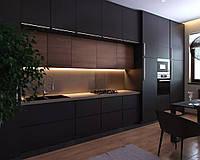 Черная кухня с мдф фасадами alvic (Испания) под заказ, фото 1