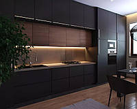 Чорна кухня з мдф фасадами alvic (Іспанія) під замовлення, фото 1