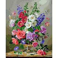 """Картина по номерам, картина-раскраска """"Летние цветы в серебряной вазе"""" 40Х50см VP1053"""