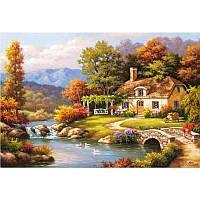 """Картина по номерам, картина-раскраска """"Уютный дом у реки"""" 40Х50см MS612"""