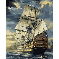"Картина по номерам, картина-раскраска ""Военный фрегат"" 40Х50см NB181"