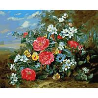 "Картина по номерам, картина-раскраска ""Композиция из цветов в пейзаже""  40Х50см Q2159"