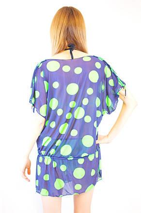Модная яркая пляжная короткая туника из сетки синя темно-синяя в горошек, фото 3