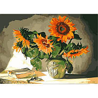 """Картина по номерам, картина-раскраска """"Солнечные цветы"""" 40Х50см VP119"""