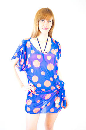 Модная яркая пляжная короткая туника из сетки синя темно-синяя в горошек, фото 2