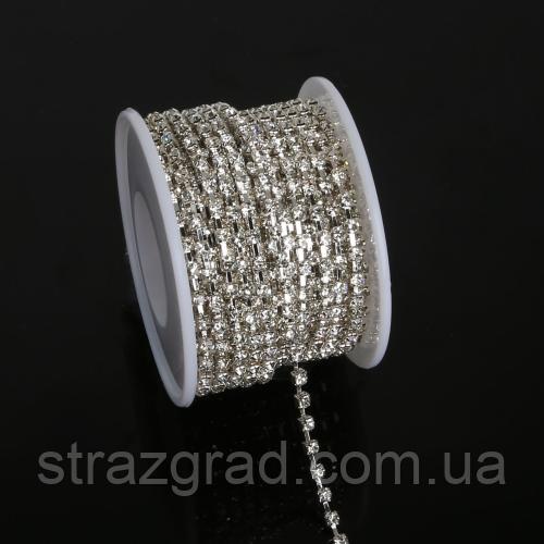 Стразовая цепь средней плотности. SS16 Crystal - Серебро. Цена за 0,5м