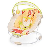 Шезлонг-качалка детский,музыкальный. Качалка для ребёнка Bambi 6418 бежевый