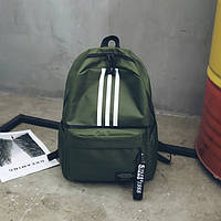 Женский большой рюкзак с лампасами зеленый