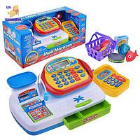 Кассовый аппарат детский игровой набор касса магазина 7019 на батарейках, сканер, весы, карточка, корзинка, пр