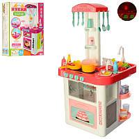 Игровая детская кухня 889-59-60, вода , свет, звук, Детская посуда (40 предметов) розовая