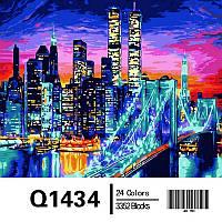 """Картина по номерам, картина-раскраска """"Бруклинский мост в огнях"""" 40Х50см Q1434"""
