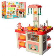 Игровая детская кухня 889-63-64, вода , свет, звук, Детская посуда (55 предметов) розовая
