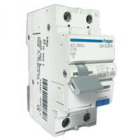 Дифференциальный автоматический выключатель 1+N, 16A, 10 mA, B, 6 КА, A, 2м Hager (AC916J)