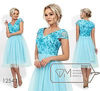 Платье-миди с V-образным декольте из пайеток на сетке и юбкой из фатина на подкладе, 3 цвета
